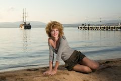 Beauty woman at sea Royalty Free Stock Photography