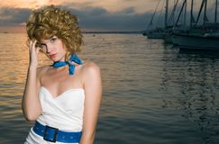 Beauty woman at sea Royalty Free Stock Image
