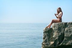 Beauty woman on sea Stock Photography