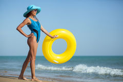 Beauty woman on sea beach Royalty Free Stock Images