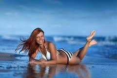 Beauty woman on sea beach Royalty Free Stock Photos