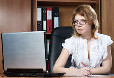 Beauty woman secretary in office Royalty Free Stock Photos