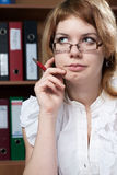 Beauty woman secretary in office Stock Images
