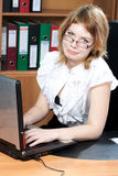 Beauty woman secretary in office Royalty Free Stock Images