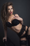 Beauty woman sexy  in black lingerie studo shot Royalty Free Stock Photography