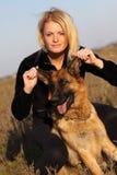 Beauty woman and shepherd Stock Photo