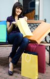 Beauty woman with shopping bag Royalty Free Stock Image