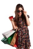 Beauty Woman with Shopping Bags Royalty Free Stock Image