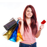 Beauty Woman with Shopping Bags in Shopping Mall Royalty Free Stock Image