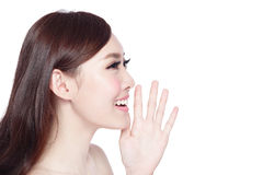 Beauty woman shouting something Royalty Free Stock Photos