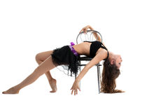Beauty woman show dance with chair isolated Royalty Free Stock Photos