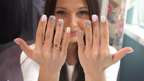 Beauty woman show her hands with manicure