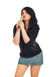 Beauty woman sing in microphone Royalty Free Stock Photo