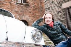Beauty Woman Sitting Near The Retro Car Royalty Free Stock Image