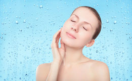 Beauty woman, skin care and freshness background with drops Stock Photos
