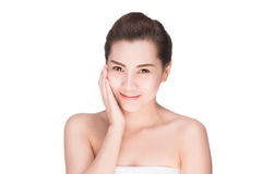 Beauty woman skin care touching face Stock Photos