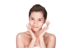 Beauty woman skin care touching face Royalty Free Stock Photo