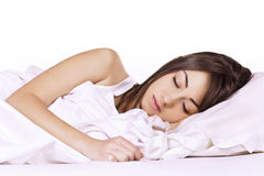 Beauty woman sleeping. Portrait of beautiful young woman sleeping on the bed Stock Images