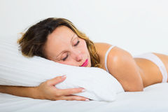 Beauty woman sleeping on white pillow Royalty Free Stock Image