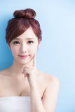 Beauty woman smile to you. Isolated on bluebackground, asian Stock Image