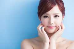 Beauty woman smile to you royalty free stock photos