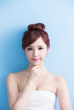 Beauty woman smile to you Royalty Free Stock Images