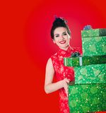 Beauty woman smiles with gifts Royalty Free Stock Photos