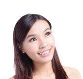 Beauty woman smiling looking at copy space Royalty Free Stock Photo