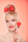 Beauty woman smiling with red heart.Valentines Day Royalty Free Stock Photography