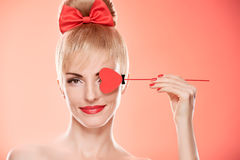 Beauty woman smiling with red heart.Valentines Day Royalty Free Stock Photo