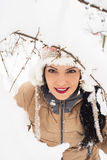 Beauty woman in snow Royalty Free Stock Image