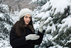 Beauty Woman in Snowy Weather Stock Photos