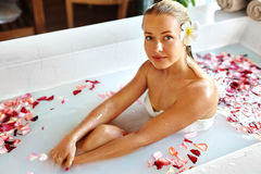 Beauty Woman Spa Body Care Treatment. Flower Bath Tub. SkinCare Stock Images