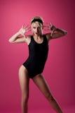 Beauty woman sport pin-up style on pink Stock Photo