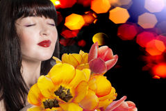 Beauty Woman with Spring Flower Royalty Free Stock Photography