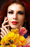 Beauty Woman with Spring Flower Royalty Free Stock Photos
