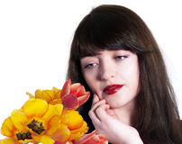 Beauty Woman with Spring Flower Royalty Free Stock Images