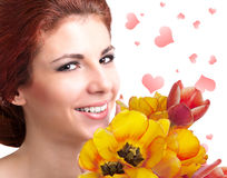 Beauty Woman with Spring Flower Stock Image