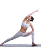 Beauty woman stand in yoga pose isolated Royalty Free Stock Image