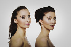 Beauty woman standing behind her friend. Beauty women with make up standing behind her friend Stock Images