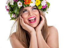 Beauty woman with summer field wild flowers fresh natural Royalty Free Stock Image