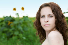 Beauty woman in sunflower Royalty Free Stock Photos