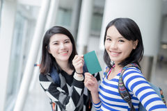 Beauty woman take passport Stock Images