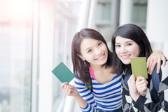 Beauty woman take passport Stock Image