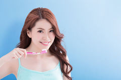 Beauty woman take toothbrushs Stock Photo