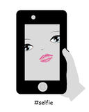 Beauty woman taking self portrait with phone Stock Photo