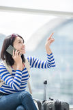 Beauty woman talking phone happily Royalty Free Stock Image