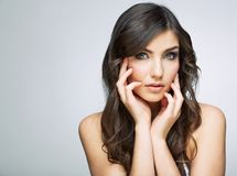 Beauty woman touching face portrait. Close up isolated Royalty Free Stock Photography