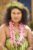 Beauty, woman traditional costumed, nature material, Solomon Islands, South Pacific Ocean. Pretty woman costumed from natural material in Nemba, Utupua, Solomon Royalty Free Stock Image