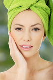 Beauty woman with turban towel. royalty free stock images